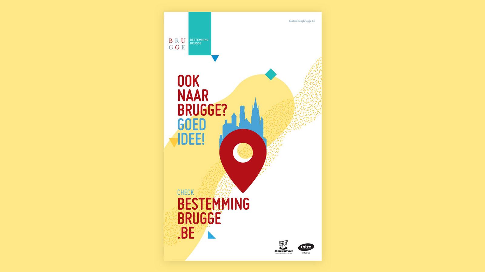 Affiche voor de bereikbaarheidscampagne voor Stad Brugge