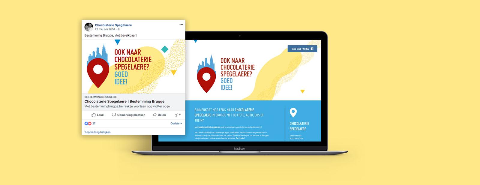 Gepersonaliseerde reclame voor de bereikbaarheidscampagne voor Stad Brugge