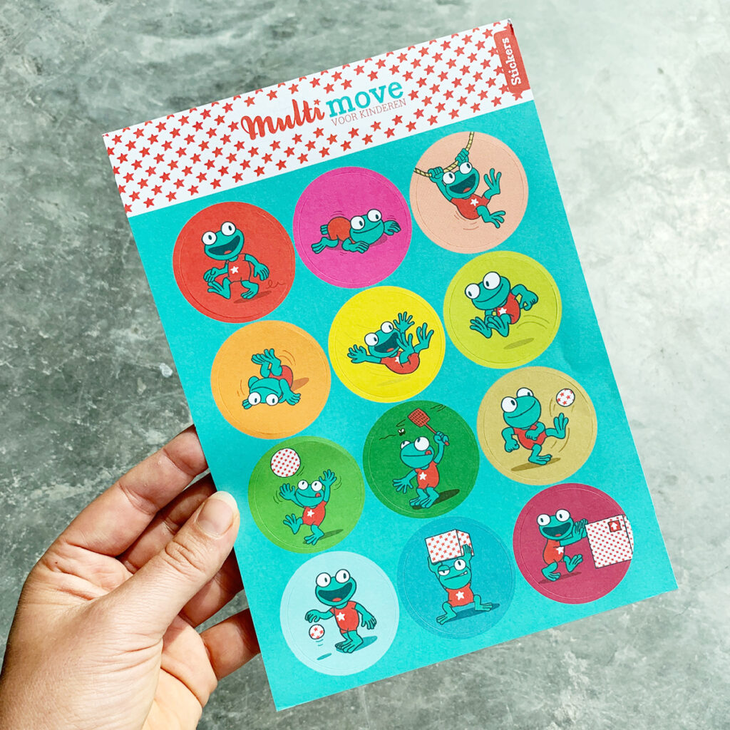 Stickertjes voor de campagne Multimove voor kinderen