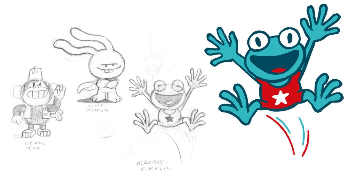 Design van de kikker voor de campagne Multimove voor kinderen