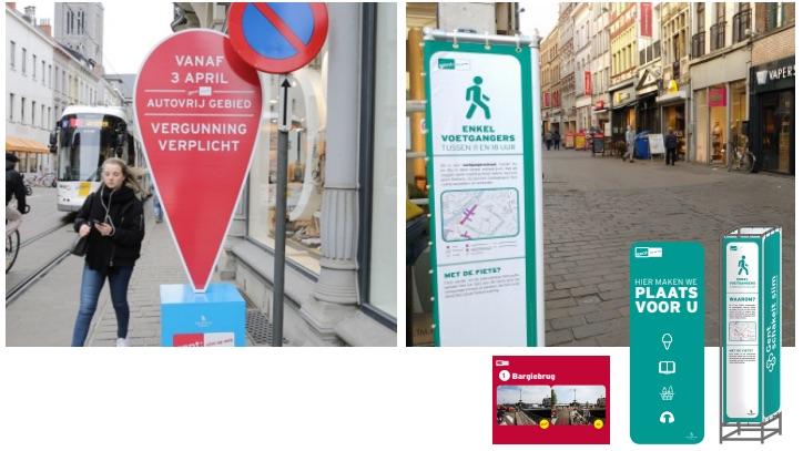 Signalisatie voor het nieuwe circulatieplan in Stad Gent
