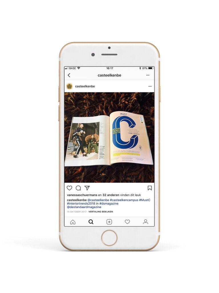 De instagram van Casteelken op een smartphone