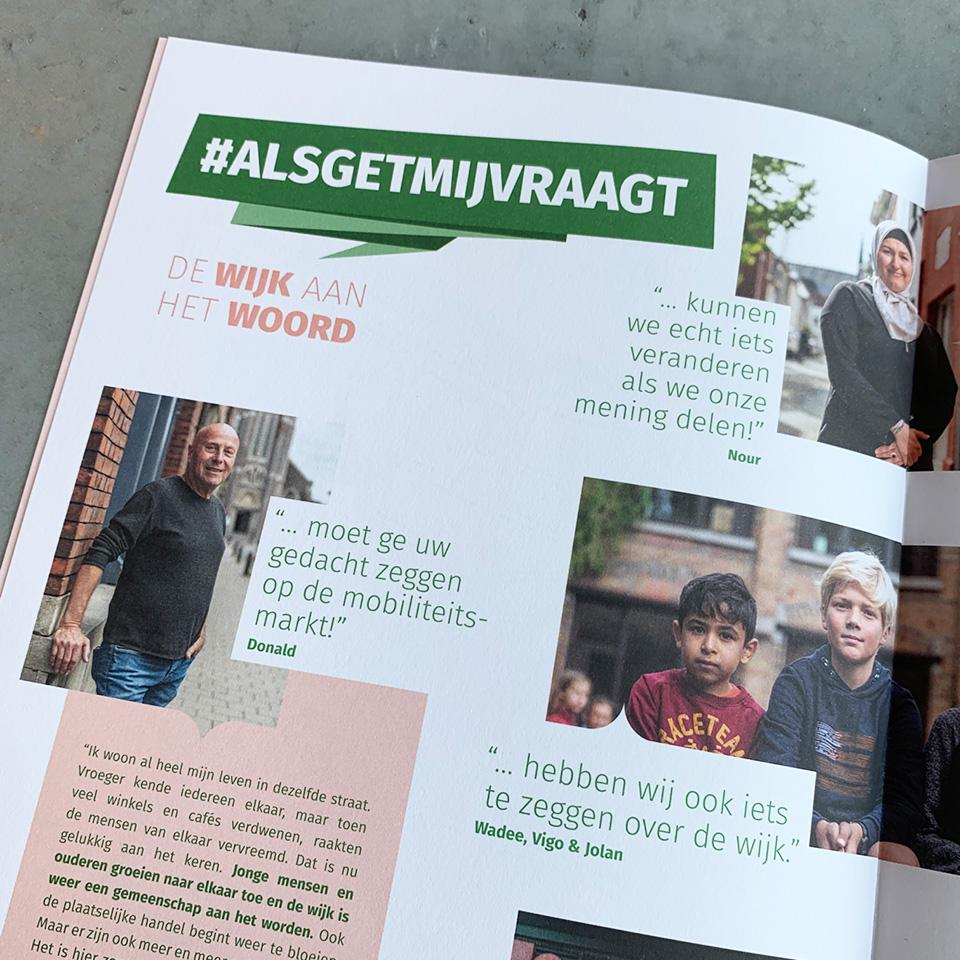 brochure voor participatiecampagne #alsgetmijvraagt voor de wijkmobiliteitsplannen Stad Gent