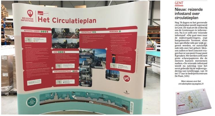 Een infostand voor het nieuwe circulatieplan in Stad Gent
