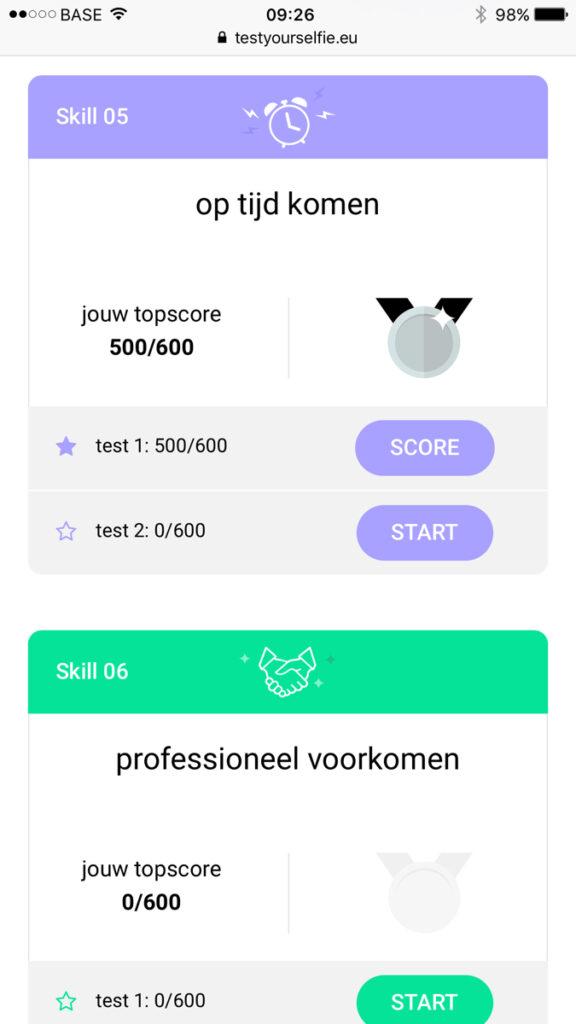 De website testyourselfie.eu op een smartphone