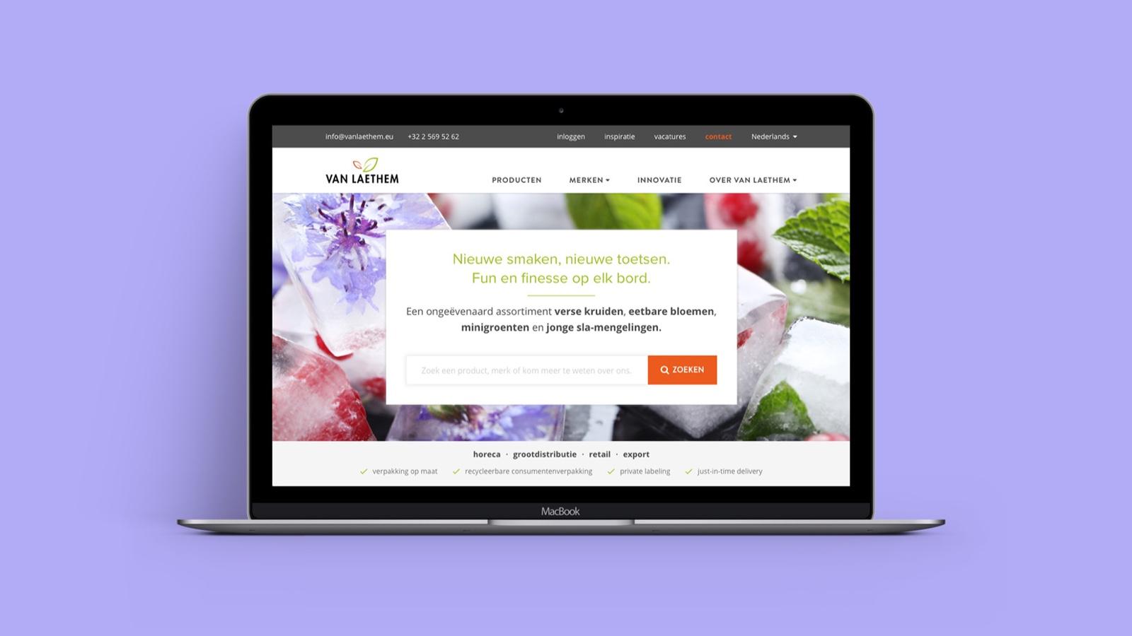 De website van Van Laethem op een Macbook