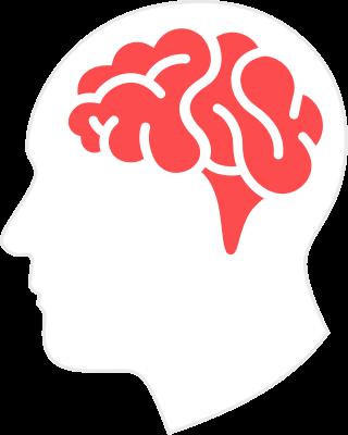 Illustratie van hersenen in een hoofd