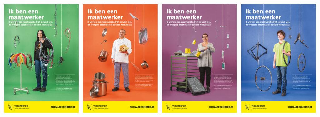 Affiches voor de campagne voor het Departement voor Werk en Sociale Economie van de Vlaamse Overheid