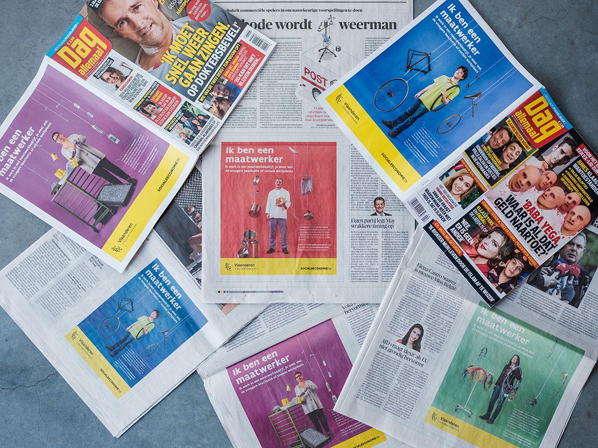 Advertentie van 'Ik ben een maatwerker' in boekjes en kranten
