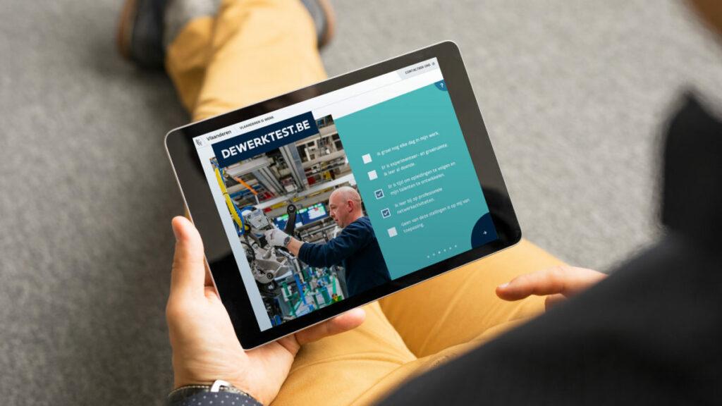 Campagne Werkbaar Werk dewerktest.be op een iPad
