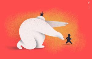 Illustratie van een grote figuur die een kleine figuur achtervolgt
