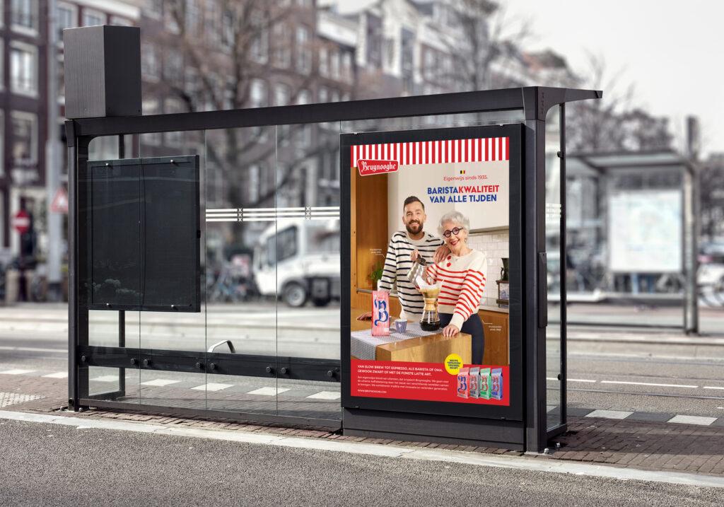 Een affiche van Bruynooghe koffie op een buskotje
