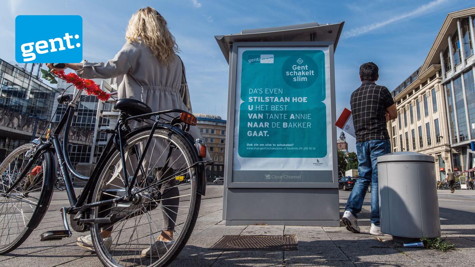 Affiche voor campagne rond nieuw circulatieplan in Stad Gent