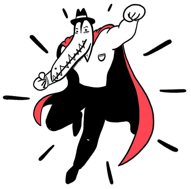Een illustratie van Mr Croque als superheld