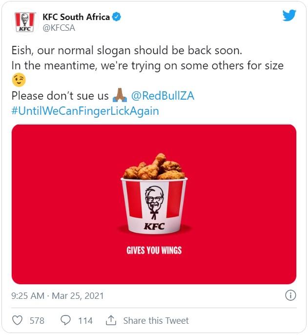 Een tweet van KFC waarbij ze de slogan 'lenen' van Red Bull