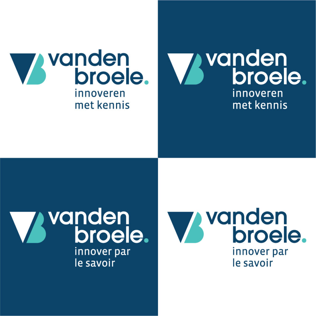 Het logo van Vanden Broele met baseline in NL en FR
