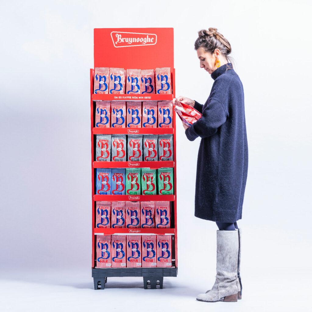 De nieuwe verpakking van Bruynooghe Koffie na de rebranding